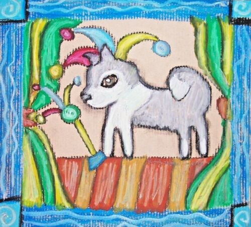 Alaskan Malamute ACEO Dog Art Card Print 2.5 x 3.5 Dogs Jester Puppy