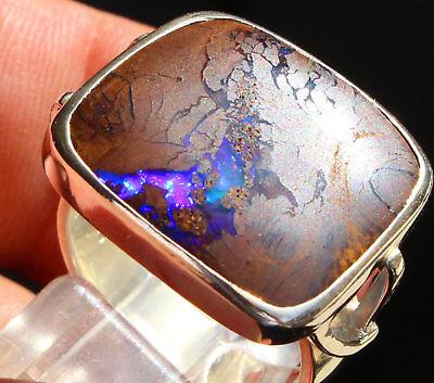 Boulder Opal 12.5 Karat 950er Silberring Größe 18,4 mm ()