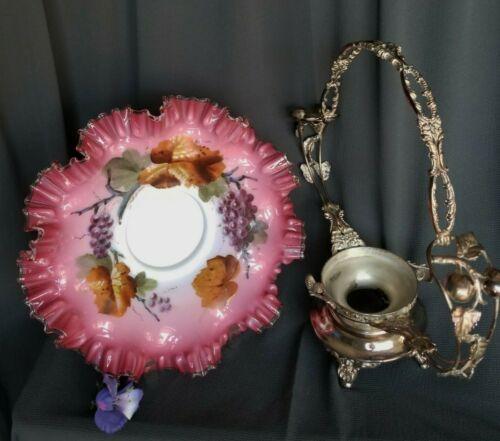 MERIDEN Victorian Brides basket figural silver plate frame enamel pontil