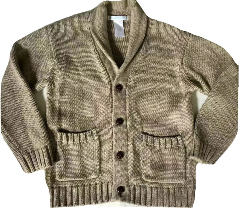 JANIE and JACK Sweater Boys 3t Button Up Classic Brown Cotton/ Wool