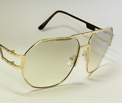 Men's Clear Eye Glasses Sunglasses Gold Frame Style Shades Fashion (Clear Sunglasses For Men)