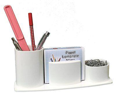 Acrimet Millennium Desk Organizer Pencil Paper Clip Cup Holder With Paper White