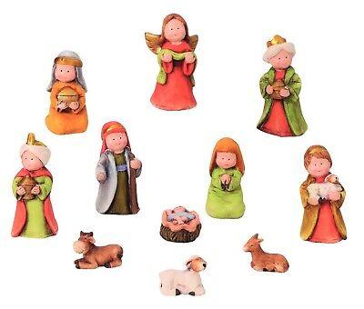 Weihnachten 11 (11 teiliges Set Krippenfiguren Krippe Weihnachten 3 - 9 cm mit Kindergesicht)