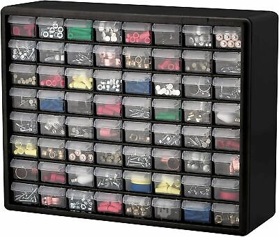 Parts Storage Cabinet 64 Drawer Bins Garage Nuts Bolts Organizer Workshop Office