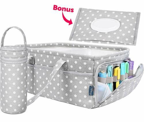 Baby Diaper Caddy Organizer Changing Table Nursery Basket PolkADot PremiumCotton