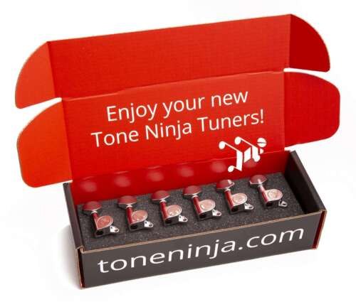 Genuine Tone Ninja Tuners, 6 Inline Staggered, Chrome