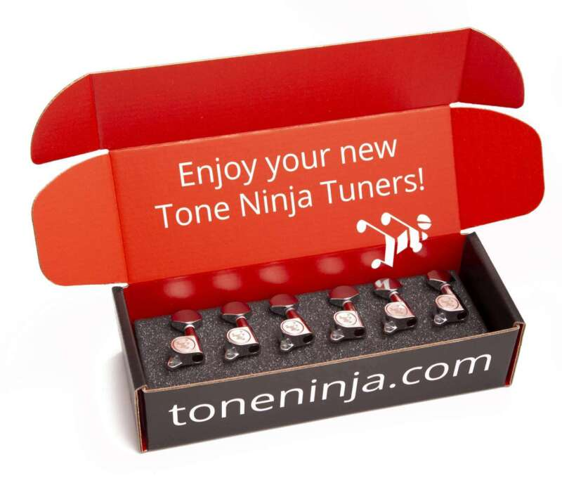 Genuine Tone Ninja Tuners, 6 Inline non-staggered, Left Handed Chrome