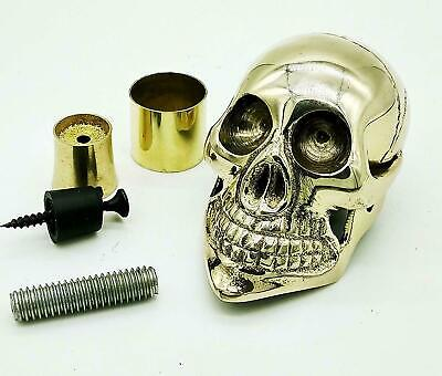 Designer Solid Brass Skull Head Handle for Walking Stick Cane Shaft W/Accessoris for sale  Shipping to Canada