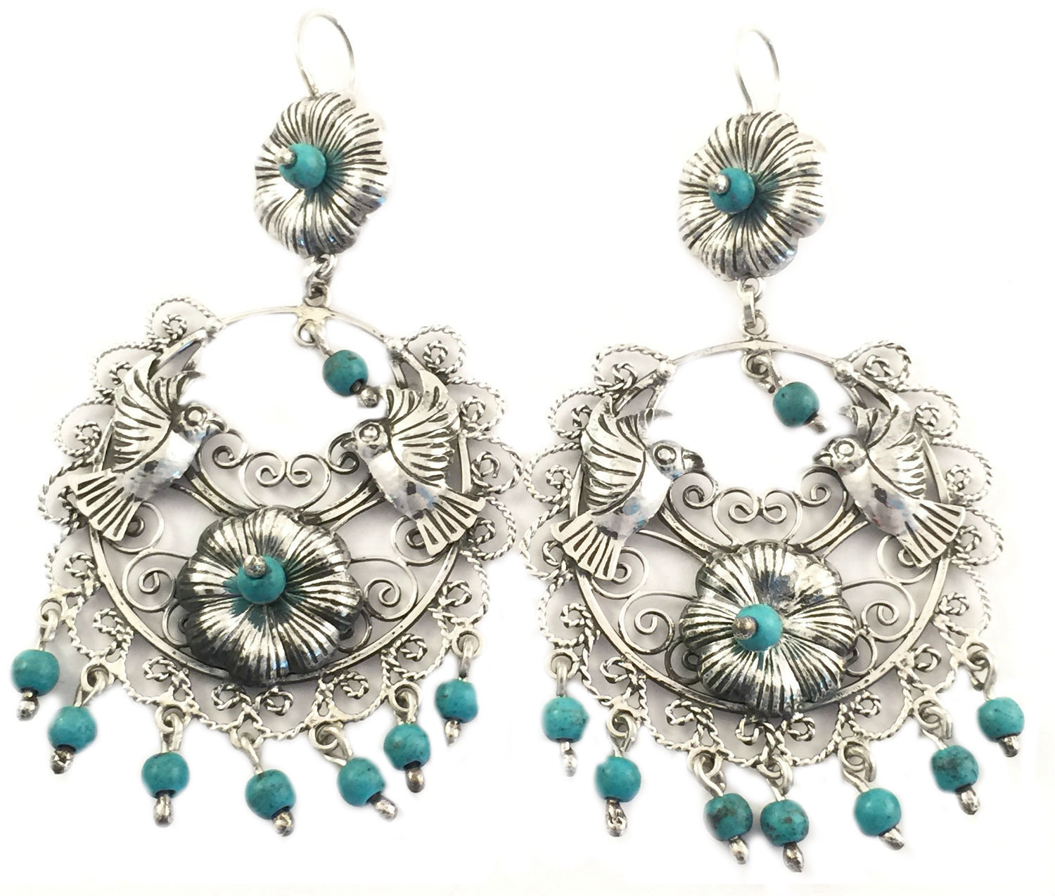 b4b5461298f6 TAXCO MEXICAN STERLING SILVER FRIDA KAHLO STYLE TURQUOISE DECO EARRINGS  MEXICO