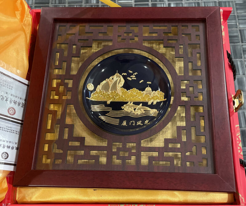 Chinese Cai's Lacquer Thread Sculpture Framed Decorations