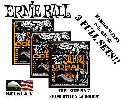 ** 3-PACK ERNIE BALL COBALT HYBRID SLINKY 2722 ELECTRIC GUIT