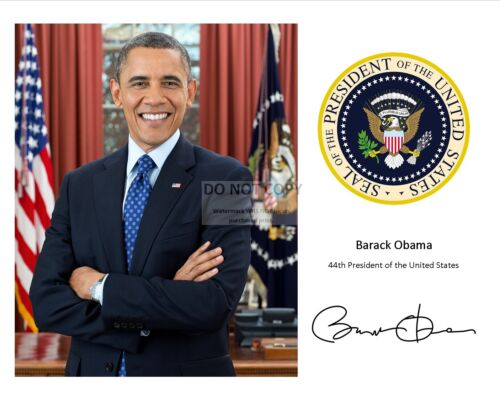 BARACK OBAMA WITH THE PRESIDENTIAL SEAL AND HIS SIGNATURE* - 8X10 PHOTO (RP-116)