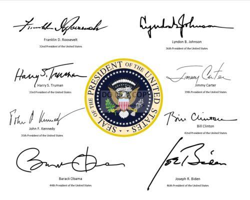 PRESIDENTIAL SEAL w/ SIGNATURES* OF LAST 8 DEMOCRATIC POTUS  8X10 PHOTO (RP-084)