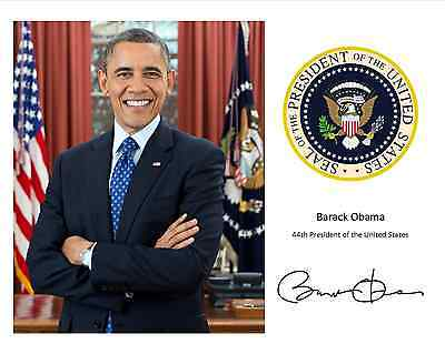 Barack Obama With The Presidential Seal And His Signature    8X10 Photo  Rp 116