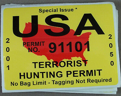 Decal / Sticker / USA Terrorist Hunting Permit