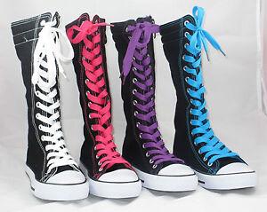 Kids-Boy-Girl-Mid-Calf-High-Top-Canvas-Boot-Tennis-Shoe-Sneaker-Black-NEW