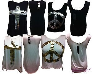 Ladies-Peace-and-Cross-high-Low-vest-tops-Foil-Print