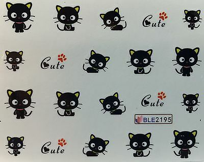 s Cute Black Cat Kitten Halloween BLE2195 (Halloween Cute Nails)