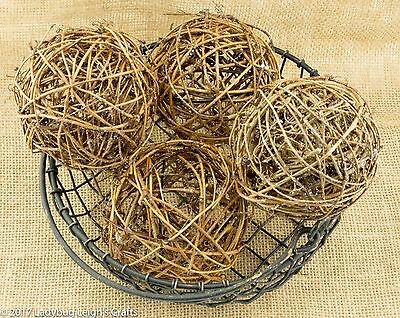Primitive Country Lot of 4 Rattan Twig Vine Balls w/ Glitter Dusted 4 in. NIP