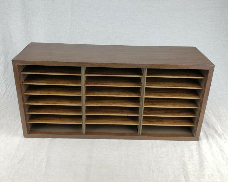 Vintage Rustic Slotted 21 Slot Cassette Tape Holder Rack Shelf Organizer Storage