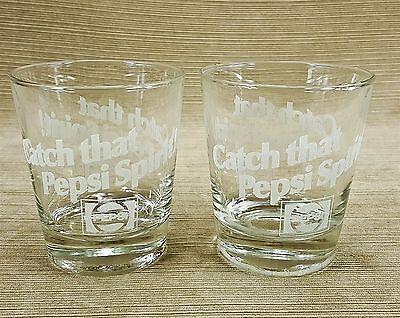 Catch That Pepsi Spirit Drink Glass Set 2 Rocks Tumbler White Frosted Logo Vtg