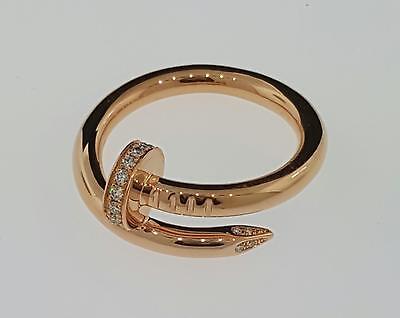 Genuine Cartier Juste Un Clou Ring 18k Rose Gold & Diamonds Size 54 New Box & P
