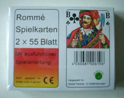 Rommè Karten - 2 x 55 Blatt - Spielkarten - Canasta - Poker - Bridge - Karten