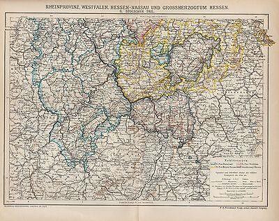 Landkarte map 1899: RHEINPROVINZ WESTFALEN HESSEN-NASSAU GROSSHERZOGTUM HESSEN.