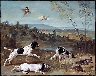 "François Desportes, Pointer Dogs, Bird, Hunting, antique wall decor, 14""x11"" ART"