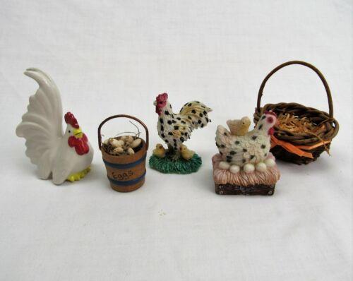vintage mini Chicken Figurines farm bird animal