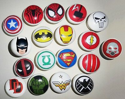 SUPER HERO MARVEL DECOUPAGE WOOD KNOBS! 27 Different Designs to choose from!