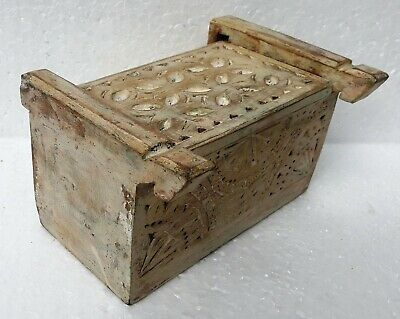 Vintage Hand Carved Toilet Wooden Box Jewelry Box Unique Floral Hand Decorated Box Massive Wooden Box Home Decor Trinket Box With Mirror