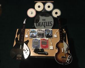 Wii rock band Beatles edition 2 guitars, drumset, 5 games