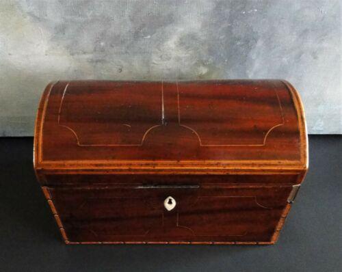 DEEP ROSEWOOD DOME TEA CADDY w SHARP INLAY EARLY 1800S UTTERLY SMASHING