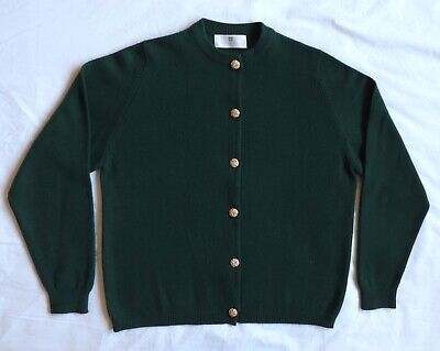 VTG BALLANTYNE 100% Pure Cashmere Cardigan Sweater Scotland Forest Green 44 Lg