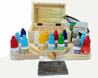 Test kit for gold, silver, platinum, nickel 15 reagent testing kit wooden box