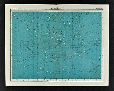 1855 Johnston Astronomy Star Map 17 Constellations Zodiac Virgo Leo Hydra Libra
