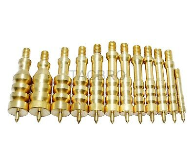 Brass Solid Gun Cleaning Jag Set for .17 to .45 Caliber Rifles 6mm to (Caliber Brass Cleaning Jag)