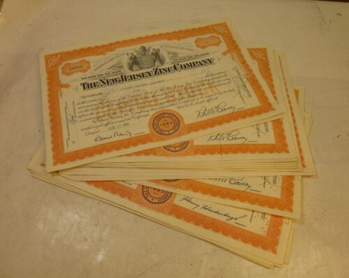 1950s DEALERS WHOLESALE LOT/25 NEW JERSEY ZINC COMPANY NJZCO MINE STOCK ORANGE