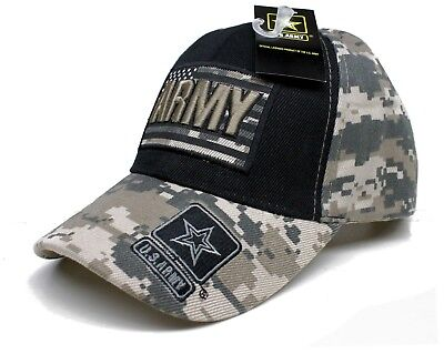 Adult US Army Over US Flag Black/Camo Adjustable Strap Hat Cap