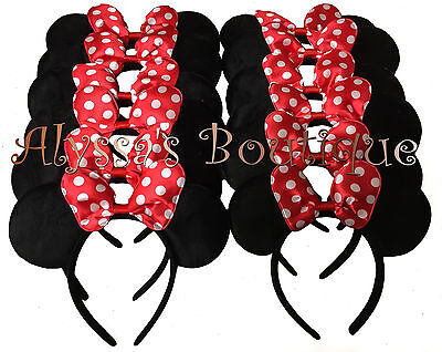 12 pc Minnie Mouse Ears Headbands Black Red Polka Dot Bow Mickey Party Birthday](Red Polka Dot Minnie Mouse Party Supplies)