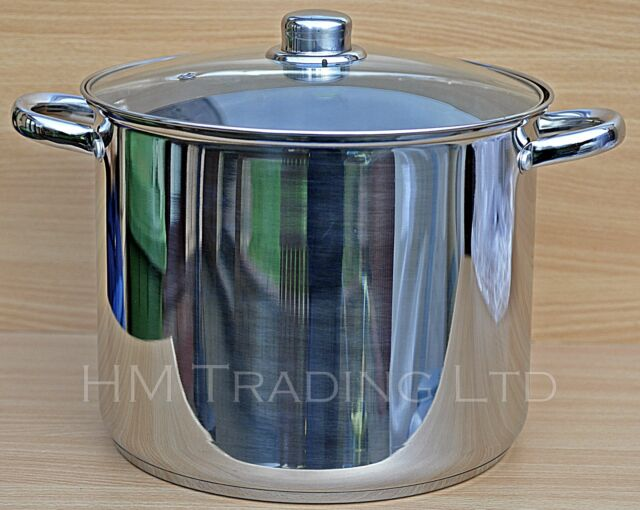 Quality Deep Stainless Steel Induction Stock Soup Pot Stew Casserole Glass Lid