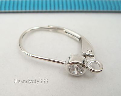 2x BRIGHT STERLING SILVER ROUND CZ CRYSTAL LEVER BACK EAR WIRES EARRINGS #2451