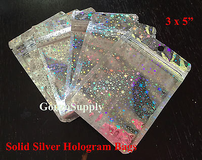 100PC 3x5 All Silver Star Hologram Ziplock Mylar Bags-Food Packaging Merchandise - Silver Mylar