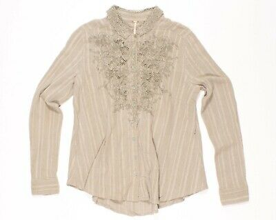 Free People Green Embroidered Lace Long Sleeve Button Shirt Size S Small