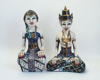 Two vintage Thai carved wooden figures of dancers