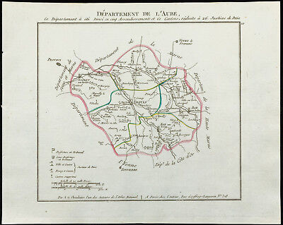 1802 - Antique Map Department Dawn of Chanlaire. France