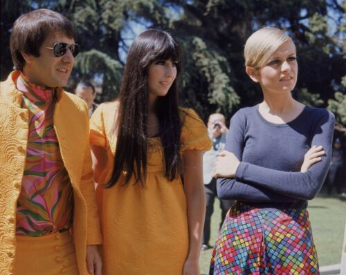 SONNY AND CHER - MUSIC PHOTO #E-12 - WITH TWIGGY