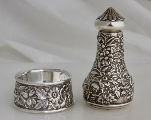 S. Kirk & Son #59 Sterling Silver Repousse Open Salt and Pepper Shaker - 83239