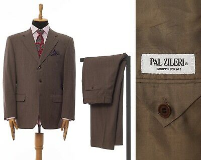 Mens PAL ZILERI Two Piece Suit Blazer Trousers Wool Brown Size 42 52